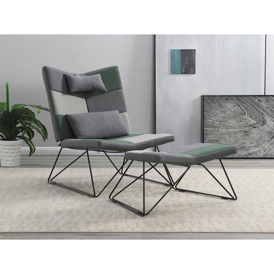 ACCENT CHAIR WITH OTTOMAN, Grey Light, Grey Green