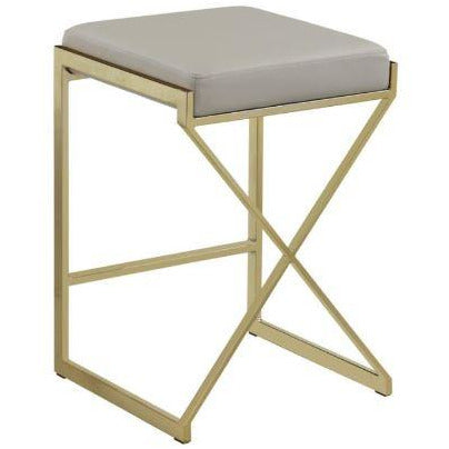 "Bar Stool With Taupe Leatherette Seat 24"" - Casa Muebles"