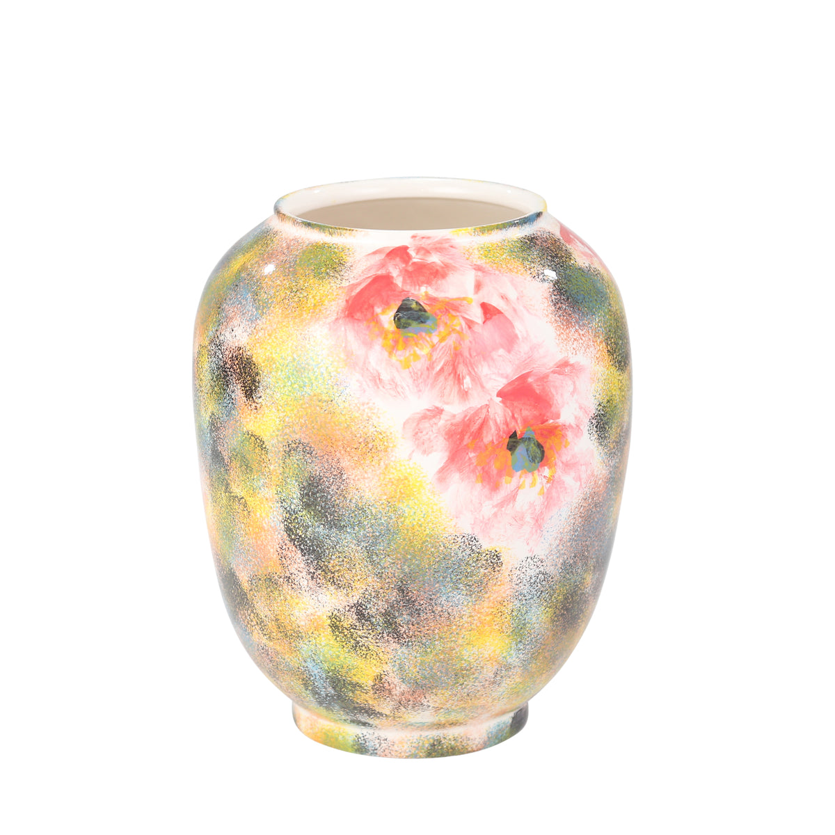 "Painted Vase, Yellow & Pink 12.25"" - Casa Muebles"