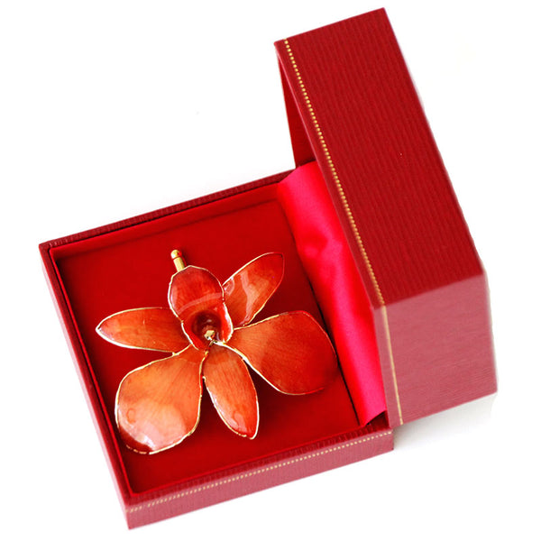 Orange Orchid Brooch (Large)