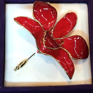 Red Orchid Brooch (Large)