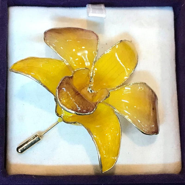Yellow Orchid Brooch (Large)
