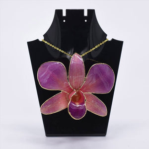 Purple Orchid Brooch with Chain (Large)