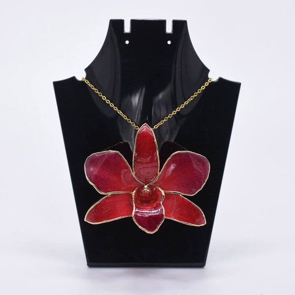 Red Orchid Brooch with Chain (Large)