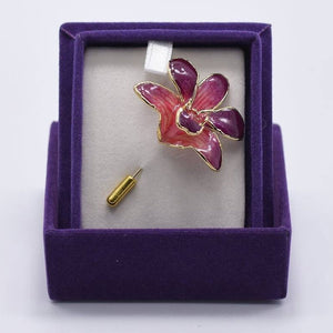 Purple Orchid Brooch (Small)