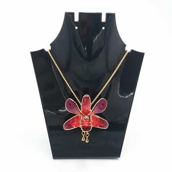 Red Orchid Brooch with Chain (Small)