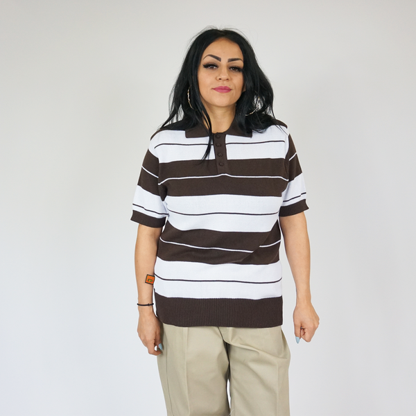 FB County Charlie Brown Shirt Brown/White for Men and Women. Cholo Style. Lowrider Clothing. Chicano Style. Chicano Clothing. Charlie Brown Polos.
