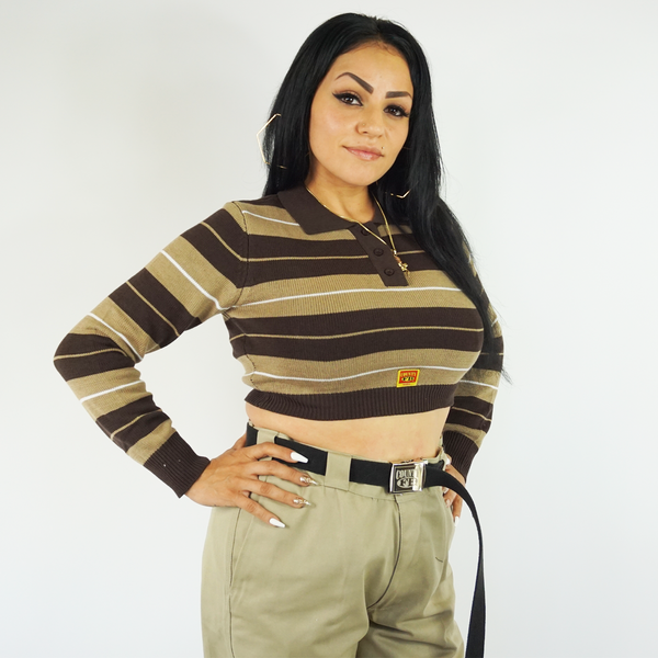 FB County Long Sleeve Charlie Brown Crop Top - Brown/Tan/White