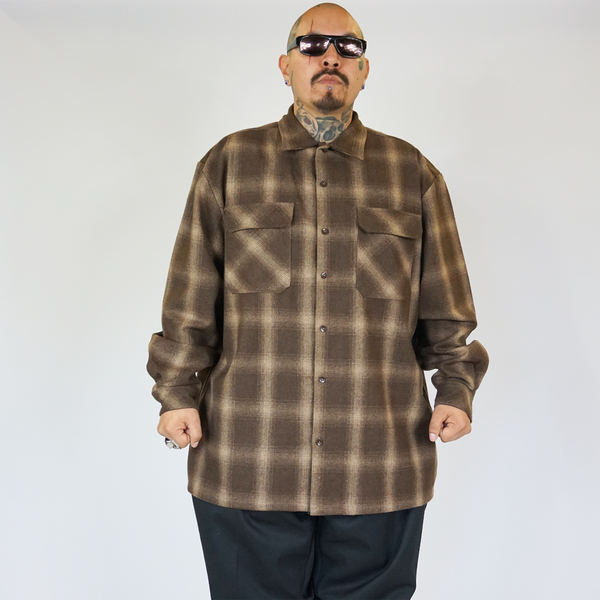 FB County Super Heavyweight Wool Blend Long Sleeve Shirt Brown/Tan
