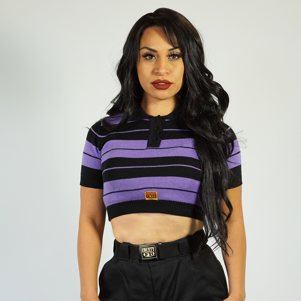 FB County Charlie Brown Crop Top - Black/Lavender
