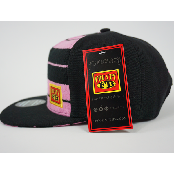 FB County Charlie Brown Cap/Hat Black/Pink. Left Side with FB County Tag.