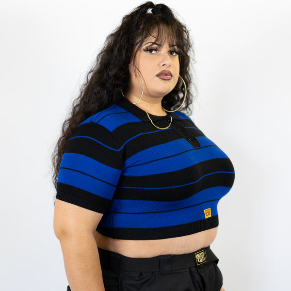 FB County Charlie Brown Crop Top - Black/Royal