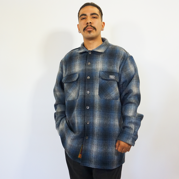FB County Super Heavyweight Wool Blend Long Sleeve Shirt - Navy/Black/Grey