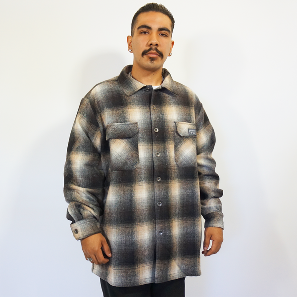 FB County Super Heavyweight Wool Blend Long Sleeve Shirt - Black/Tan/White