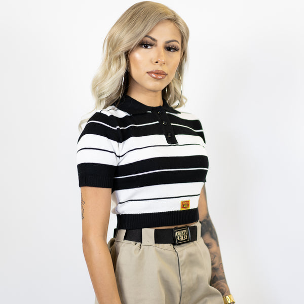 FB County Charlie Brown Crop Top - Black/White