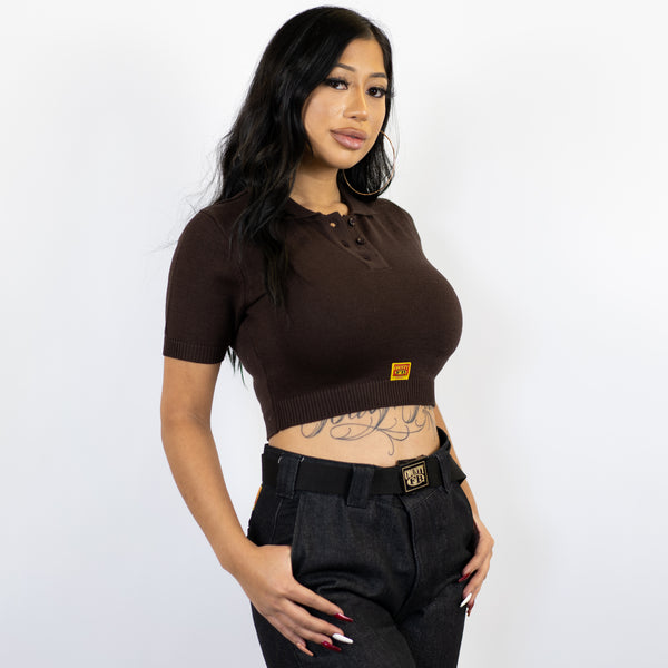 FB County Solid Charlie Brown Crop Top - Brown