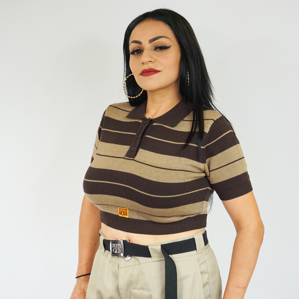 FB County Charlie Brown Crop Top - Brown/Tan