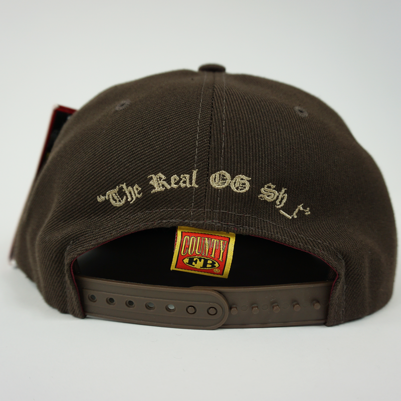 "FB County Charlie Brown Cap/Hat Brown/Tan Back Side with Adjustable Strap. ""The Real OG Sh_t"" embroidery."