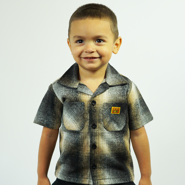 FB County Kids Short Sleeve Wool Shirt -Black/Tan/White
