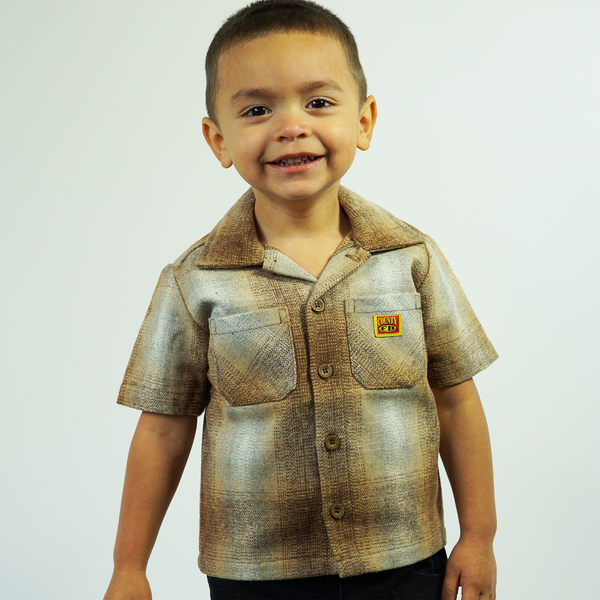 FB County Kids Short Sleeve Wool Shirt -Brown/Tan/Grey