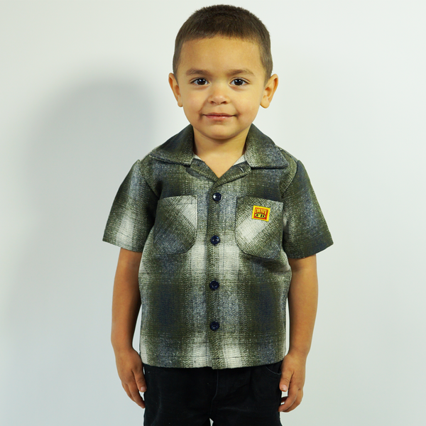 FB County Kids Short Sleeve Wool Shirt -Black/Green/White