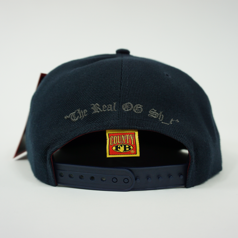 "FB County Charlie Brown Cap/Hat Navy/Grey Back Side with Adjustable Strap. ""The Real OG Sh_t"" embroidered in Grey."