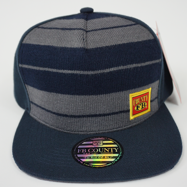 FB County Charlie Brown Cap/Hat Navy/Grey. Navy Grey Flat Bill with FB County Logo. Cholo Caps.