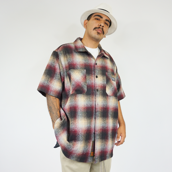 FB County Short Sleeve Wool Shirt - Burgundy/Black/Tan