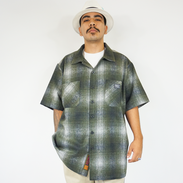 FB County Short Sleeve Wool Shirt - Green/Black/Grey