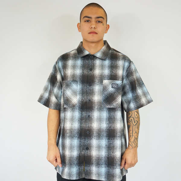 FB County Short Sleeve Wool Shirt - Black/Sky/White