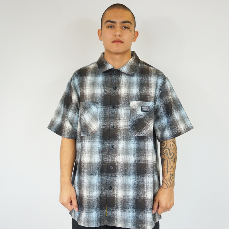 FB County Short Sleeve Wool Shirt - Sky/Black/White