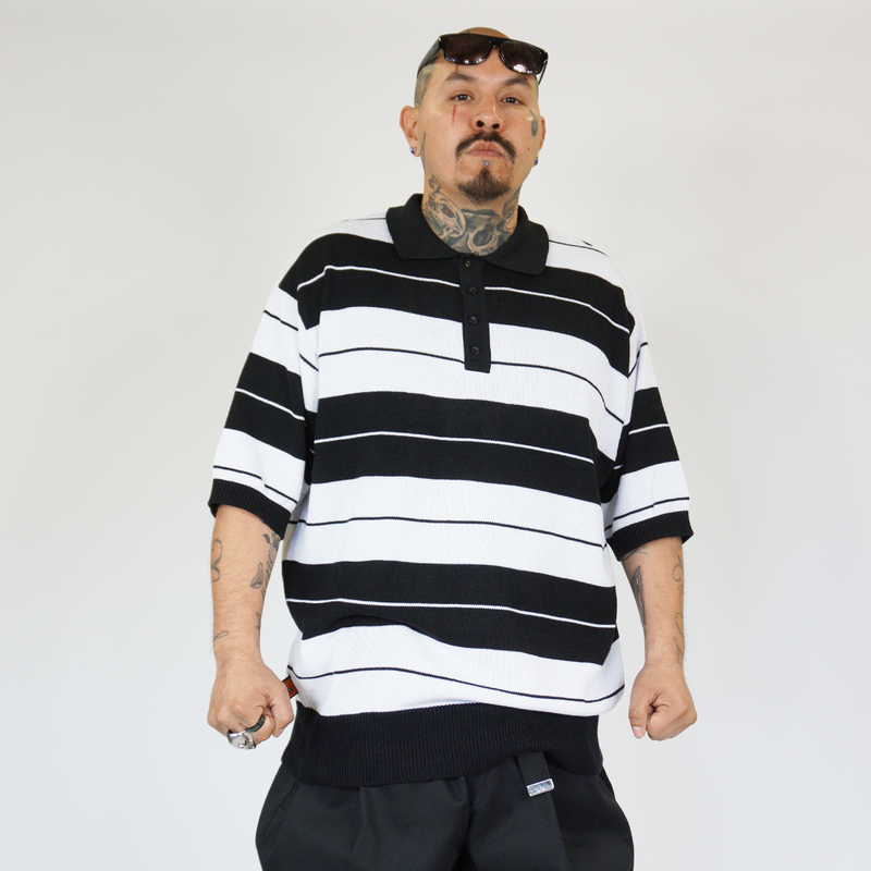 FB County Charlie Brown Shirt Black/White for Men and Women. Chicano Style. Cholo Style. Cholo Shirts. Cholo Polo.
