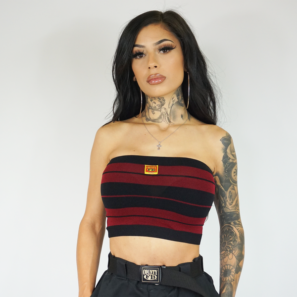 FB County Charlie Brown Tube Top - Black/Burgundy