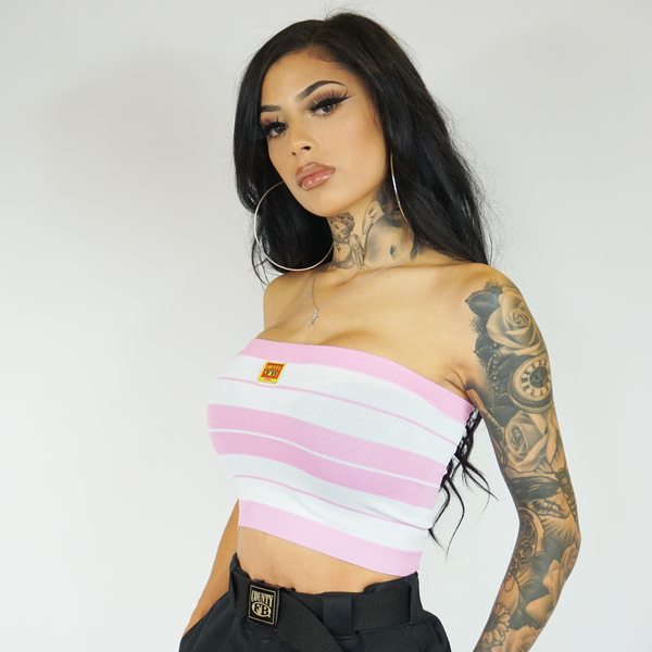 FB County Charlie Brown Tube Top - Pink/White