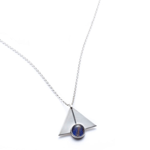 Deco Lapis triangle pendant necklace