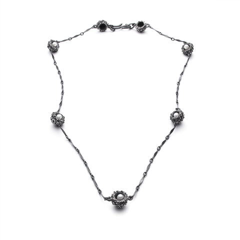 Océan silver anemone and pearl necklace
