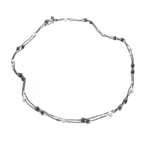 "Océan 49"" silver mini-anemone and pearl necklace"