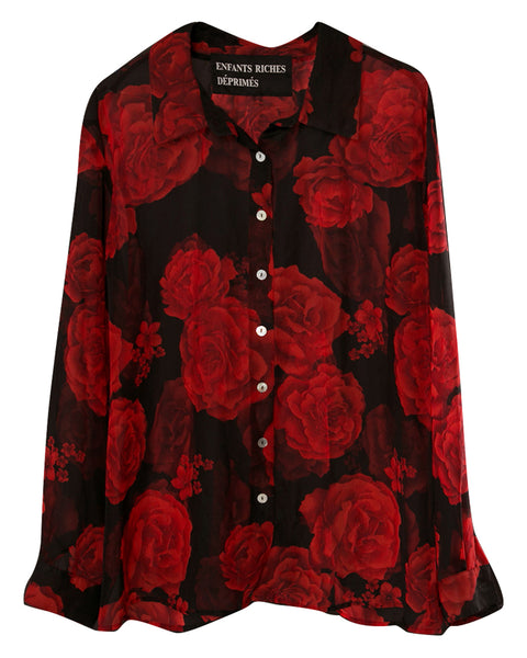 SILK SHIRT WITH ROSES
