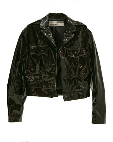 PATENT LEATHER CROPPED MILITARY JACKET
