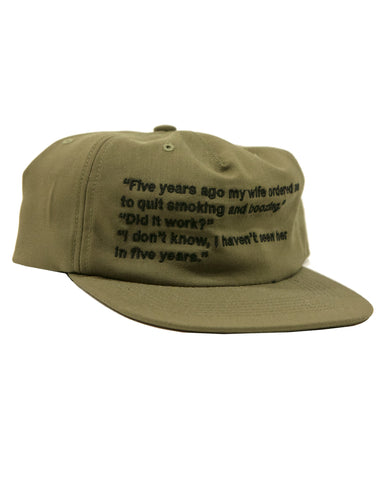 FIVE PANEL JOKE HAT - ARMY GREEN
