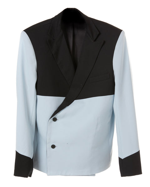 DOUBLE BREASTED BOXY TWO TONE BLAZER
