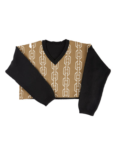 """CHAIN LINK"" INTARSIA KNIT V-NECK SWEATER"