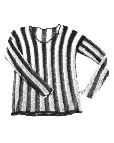 LOOSE KNIT JAILHOUSE STRIPED SWEATER