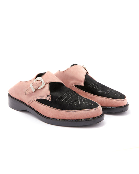 CALF SUEDE / PONY HAIR PUNK SLIPPERS