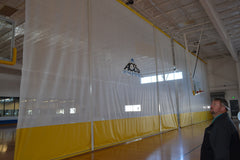 reclaim reclaimed repurpose repurposed gym equipment barrier net netting divider mesh retractable