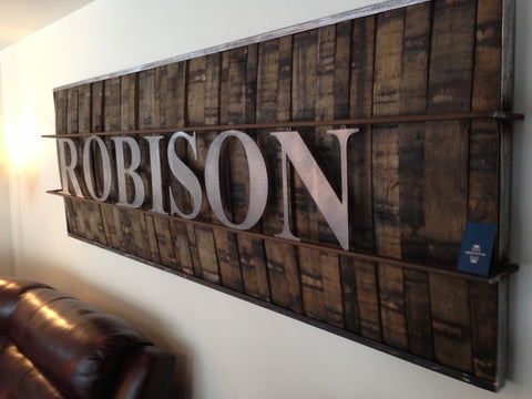 One Of Our Regulars, Bryce Hart, Had This Great Idea For Repurposing The  Oak Staves From Used Whiskey Barrels   A Custom Family Name Wall Art Piece.
