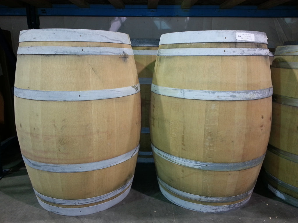 oak barrels stacked top. Oak Wine Barrels With Only One Fermenting Process; Note The Absence Of Much Staining. Stacked Top