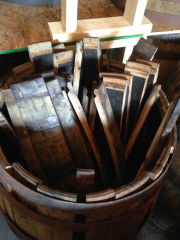 Reclaimed whiskey barrel staves. Material Resourcers repurposes materials from industrial & manufacturing companies. Bring us your waste, excess, non-recyclable, by-product, remnant, blemished, cancelled, and expired materials.