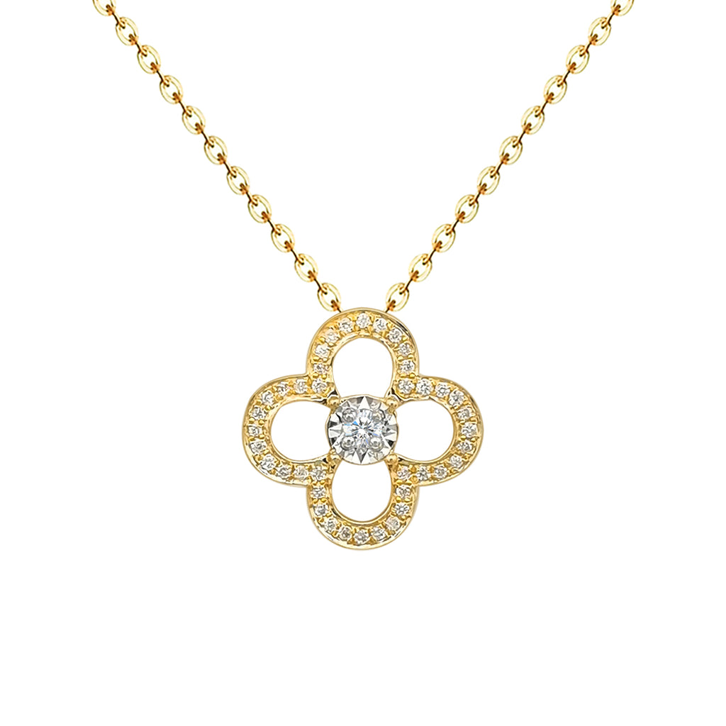 14 K Gold Dimond Clover Necklace
