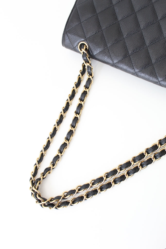 Chanel Classic Single Flap Bag Quilted Caviar Maxi